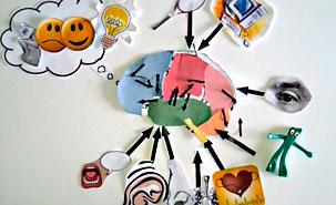 La vidéo recourt à de multiples flèches, qui symbolisent l'interactivité neurologique.